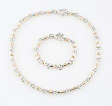 Autentico Tiffany & Co Oro Argento Collegamento Set Collana 16.5 Bracciale 6.75