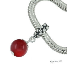 Red Coral In Sterling Silver Round Drop Charm Fit European Bracelet #94059