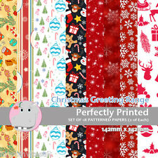 18 Patterned Paper Sq 140mm -Scrapbooking Cards Craft Paper - Christmas Greeting