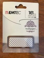 Emtec Flash Drive Wallpaper 16 GB Storage White Polkadot USB 2.0 FREE SHIPPING