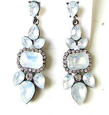 Pale Light Blue Silver Faux Opal Art Deco Earrings Diamante Stud Drop Vtg 2032