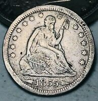 1855 Seated Liberty Quarter 25C Arrows High Grade Details Silver US Coin CC5754