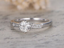 0.56 Ct  Solid Diamond Engagement Ring Hallmarked 14K White Gold Rings Size I J