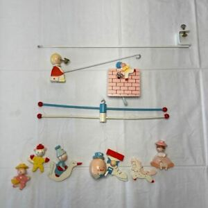 Vintage Mother Goose Musical Crib Baby Mobile IRMI M815 Wood Hand Painted