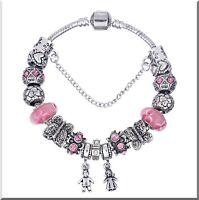 Bracelet plaqué argent Charms en Verre Murano rose et métal Cadeau Noël