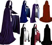 Velvet Halloween hooded cloak wedding cape wicca robe Fancy Dress Vampire Gothic