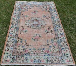 Floral Design Handmade Carpet Turkish Vintage Unique Bohemian Wool Rug 4x7 ft