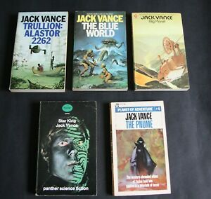 Five Science Fiction Paperbacks by Jack Vance.  Very Good condition.