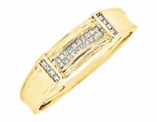 Mens 10k Yellow Gold Genuine Diamond Two Row Wedding Band Ring 5 Mm 0.15 Ct