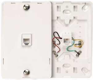 Leviton 40214-W White Phone Jack Wall Mount Plate Type 630A 4C Telephone 40214-W