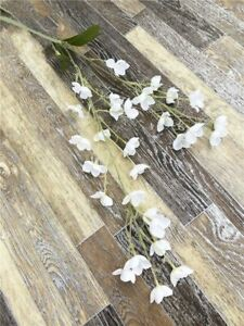 2 Fork Fake Flowers Bell Orchid Artificial Silk Flower Home Wedding Decoration