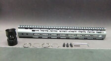 "15"" Inch Ultra Light Slim Gray Grey Metal KEYMOD Free Float Hand Guard Fore Rail"