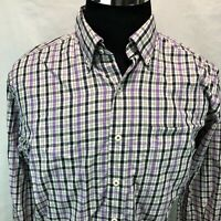 Peter Millar Button Down Shirt Black White Purple Brown Plaid Check Large UU5