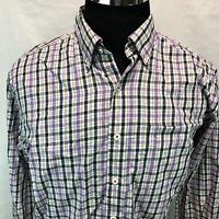 Peter Millar Button Down Shirt Black White Purple Brown Plaid Check Large UU5