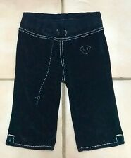 True Religion Girls Size 6y/o Black Toweling Cropped Pants