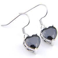 Black Onyx  Gemstone Love Heart Shaped Silver Dangle Earrings