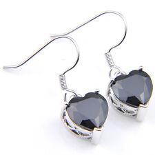 Love Heart Style Black Onyx Gemstone Silver Dangle Hook Eearrings 22.5Cts
