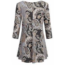 Fashion Womens Tunic Tops Floral Shirts Sleeves O-Neck Ladies Shirt Blouse BWXL