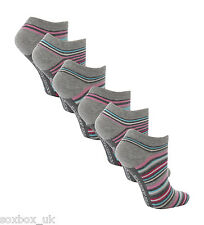 6 Pairs AT24 Ladies Soft Top Cotton Trainer Socks Pink/Aqua Stripe Size 4-8