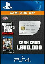 GTA V 5 ONLINE WHALE SHARK CASH CARD PS4 DLC $1.25M $1,250,000 MILLION