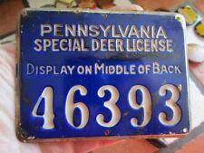 Vintage 1930's Pennsylvania Special Deer Hunting License / Numbered Metal Tag /2