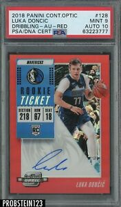 2018-19 Contenders Optic Red #128 Luka Doncic RC /99 PSA 9 PSA/DNA 10 AUTO