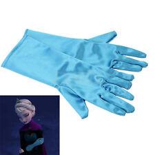 Paio Guanti Bambina Frozen Principessa Cosplay Costumi Accessori Celeste Blu