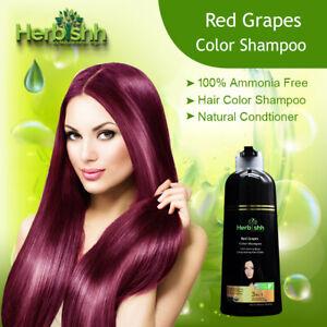 500ML HERBISHH COLOR SHAMPOO HERBAL HAIR COLOR DYE AMMONIA FREE GRAPE RED