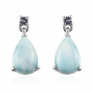 Larimar Blue Tanzanite Platinum Over Silver Women Dangle Drop Earrings 3.2tw