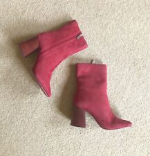Topshop  Heidi Red Suede Leather Ankle Boots UK6 EU39 US8.5