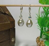 Handmade Faux Barroque Pearl and Crystal Earrings
