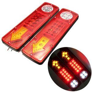 2pcs 23 LED Trailer Car Rear Tail Brake Stop Turn Lights Indicator Reverse Lamp