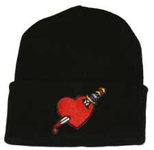 Winter Knit Black Beanie Cuff Heart Dagger 3D Patch Embroidery