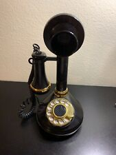 1973 Black CANDLESTICK TELEPHONE Rotary Phone American Telecommunications TESTED