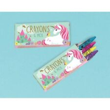 MAGICAL UNICORN 4-PACK MINI CRAYONS (12) ~ Birthday Party Supplies Favors Toys