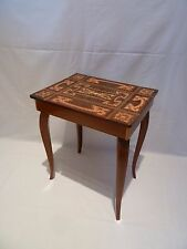 Vintage Italian Musical Sewing Box Table with Pretty Marquetry Inlay