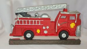 Cast Iron Red Fire Engine Truck Ladder Rescue Dept Cast Iron Door Stopper