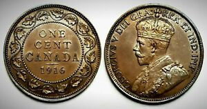 Canada 1916 Large Cent (INV0114) Lustrous Brown UNC MS-63!!