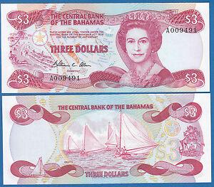 Bahamas 3 Dollars P 44 a L. 1974 (1984) UNC Sign. WC Allen Low Ship Combine FREE