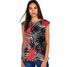 LADIES WALLIS TOP SIZE 16, Black palm Leaf floral Print Zip back Tunic Top