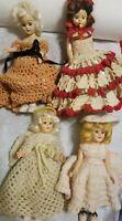 "Antique lot of 4~Crocheted Dresses Bonnets w/6-7"" vintage DRESSED Dolls w/SHOES"