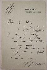 Henry Scott Holland Signed letter Regius Professor Oxford Canon St Pauls (Repton