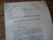 LORRAINE VOSGES REVOLUTION 1799 CIRCULAIRE FAUTES REDACTION ACTES ETAT CIVIL