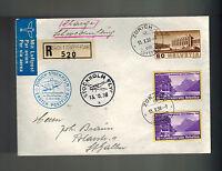 1938 Zurich Switzerland First Flight Cover FFC to Stockholm Sweden