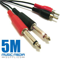 """5M Twin 2 x MONO 6.35mm 1/4"""" Jack to 2 RCA PHONO Male Plugs Cable Lead DJ patch"""