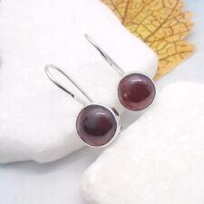 Granat rot rund Design Ohrringe Hänger Ohrhänger Haken 925 Sterling Silber neu