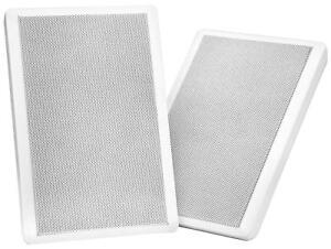 2x Enceintes Haut-Parleurs Home Cinema Installation Mur Passive 100W Blanc Set
