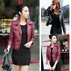 Slim Women Black Biker Motorcycle Synthetic Leather Zipper Jacket Coat 3XL