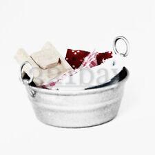 Cubos de estaño en Miniatura Casa De Muñecas Escala Miniatura Miniatura Estaño Bañera Tina de Lavado