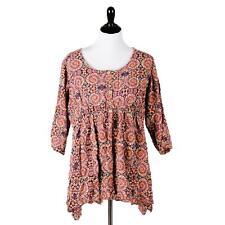 Joe Browns Shirt 16 Boho Psychedelic 3/4 Sleeve Ties Floral Top Bell Sleeve B68